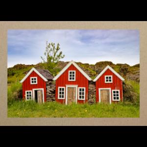 Drei Häuschen auf Iceland
